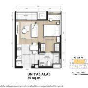 Unit A3, A4, A5 : 39 sqm