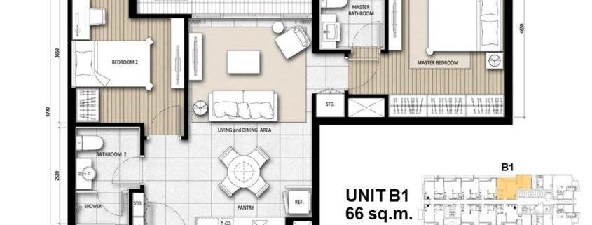Unit B1 : 66 sqm